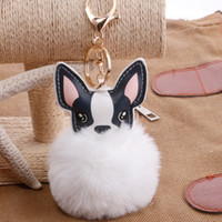 Fluffy Rabbit Fur Bola Buldogue Francês Chaveiro Chaveiro Pompom Pu Leather Animal Cão Chaveiro Titular Saco Charme Trinket