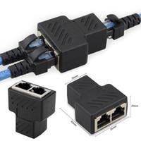 1 a 2 LAN RJ45 conector de cabo de rede preto Splitter Extender Plug Adapter