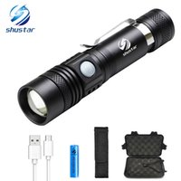 USB Rechargeable LED flashlight T6 high lumens led torch Ult...