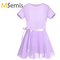 Sahne Giyim MSEMIS Gymnastics Leotard Kızlar için Bale Elbise Pamuk Kısa Kollu Şifon Bağlı Etek Kıyafet Set Çocuk Tutu