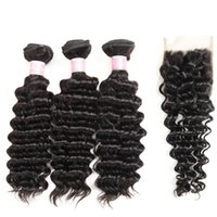 Brazilian Human Hair 3 Hundles With Closure Deep Wave Bundle...