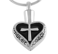Silver Heart and Cross Urn Necklace for Ashes - Birthstone C...