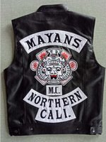 2018 Xmas Gift Mayans MC Motorcycle Punk Locomotiva PU Leather Black Vest
