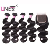 UNice Hair Brazilian 4 Bundles With Closure Body Wave 100% H...