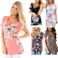 Factory Wholesale Women Floral Print T- Shirts Summer Tops Ca...