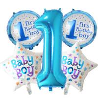 5 pezzi Baby 1 ° compleanno palloncini rosa blu Numero Foil palloncini decorazioni festa di compleanno per bambini decorazione della festa forniture