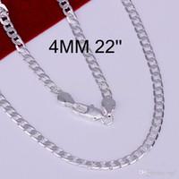 2018 4 MM 925 Sterling Silver plaqué chaîne de mode serpent colliers pour hommes bijoux 16 'à 30' de haute qualité LKN047