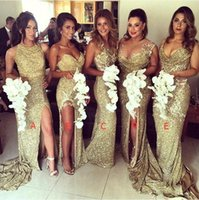 2018 Sexy Sequins Vestidos de dama de honra Gold Bling Different Neckline Illusion Back High Split Longo Maid of Honor Bridesmaids Vestidos BO8128