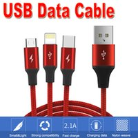3 in 1 USB Cable Braided Fabric 2. 1A Fast Charging Type C Mi...