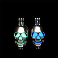 Silber Glow in The Dark Perlen Schädel Austern Käfig Medaillon Anhänger Aromatherapie Parfüm ätherische Öle Diffusor