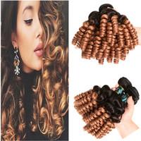 Tante Funmi # 1B / 30 Auburn Ombre Vierge Indien de cheveux humains Bundle Offres 3Pcs Romance Curl Rougeâtre Marron Ombre de cheveux humains faisceaux