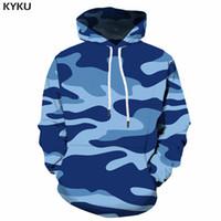 KYKU Blue Camo Hoodies Men Camouflage Hoodie 3d Printed Sweatshirt Pullover Hooded Vintage  Mens Clothing Streetwear New