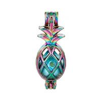 Радуга полый ананас клетка медальон цветной тропический фрукт форма подвеска шарм DIY духи ювелирные изделия 5 шт.