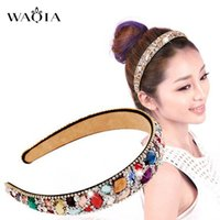 High- end hair hoop girls hit wide- brimmed crystal diamond ha...
