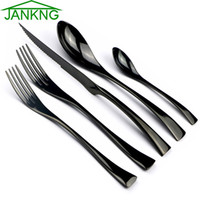 JANKNG 5шт/набор Набор столовых приборов 18/10 из нержавеющей стали посуда черный зазубренный острый нож для стейка набор посуды на 1
