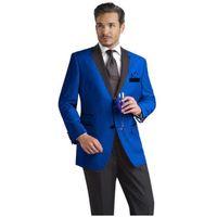 Классический дизайн жених смокинги две кнопки синий Notch лацкан жениха Шафер костюм мужские свадебные костюмы (куртка+брюки+галстук) нет: 779