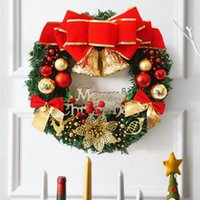 Guirlande De Noël 30 cm De Noël Grande Guirlande Porte Mur Ornement Garland Décoration Rouge Bowknot Décorations De Noël pour La Maison