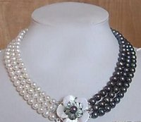 Collier de perles Akoya d'eau douce, blanc, noir, 3 rangs