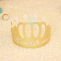 Festive Fête Chapeaux de Fournitures D'anniversaire Conception Papier Doré Couronne Forme Jetable Cap Pour Enfants Chapeaux De Mode Adulte 0 2hy jj