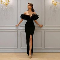2018 Sexy Split Black Dresses Evening Wear Off Shoulder Shea...