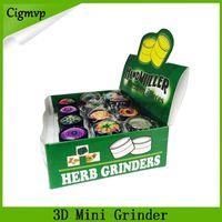 3D mini Muller Herb Grinder Trituradora de humo de aleación de zinc Mini Trituradora de tabaco de metal 3 capas 30 mm Diamter colores surtidos YW849 DHL 0266222-1