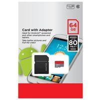 80MB / s 화이트 Android 32GB 64GB 128GB 256GB C10 TF 플래시 메모리 카드 클래스 10 무료 SD 어댑터 소매 블리스 터 패키지