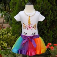 Unicorn Face Romper and Tutu Skirts Set for Birthday Girls B...