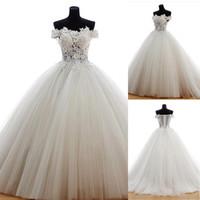نرى من خلال تول خارج الكتف خط العنق ثوب ثوب الزفاف مع البندقية الدانتيل بديرة رائعة صد فستان الزفاف