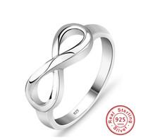 925 Sterling Silver Infinity Bague Eternity Bague Charmnes Meilleur ami cadeau sans fin Symbole Symbole Symbole Anneaux de mode pour femmes bijoux