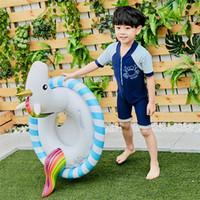 الصيف شاطئ الأطفال السباحة الدائري لطيف الكرتون يونيكورن نفخ يعوم أطفال بركة المياه مقعد وسادة سماكة pvc 27ws x