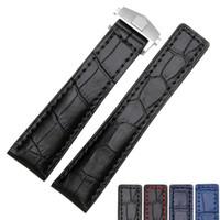 19mm 20mm 22mm qualidade Genuine Leather Bands Bands Deployment Buckle Substituição Cinta de couro para tag