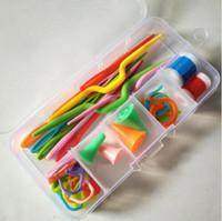 Strickwerkzeuge Häkeln Haken Stiche Stiche Pins Wolle Garn Nadel Strick Weave Werkzeugmarkierungen mit Box Fall eingestellt
