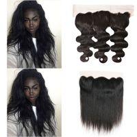 Virgem Brazilian Human Hair 13x4 Onda de Corpo Direto Laço Fechamento Frontal Parte Livre Prejuída com Cabelo Bebê Cor Natural 8-18 polegadas