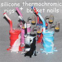 Nueva Llegada mini silicona plataforma de baño Silicona Tubería de agua vidrio bongs vidrio agua tubería silicona plataforma barril termocromático cubo cuarzo banger