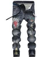 브랜드 뉴 남성이 폴드 청바지를 패널로 찢어 스트레이트 빈티지 슬림핏 디자이너 레트로 표백은 9702 스트리트 바이커 데님 바지 주름