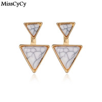 MissCyCy New Fashion Gold Color Geometric Triangle Stud Earr...