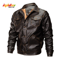 New 2018 Winter PU Leather Jacket Men Tactical Army Bomber J...