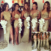 Sparkly Bling Sequined Mermaid Bridesmaid Dresses Backless Slit Plus Size Maid Of Honor Gowns Bridesmaids Wedding Party