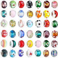 Nuove perle di vetro Charms bella europea vetro di Murano Biagi grande grande foro perline Rroll misura per i braccialetti di fascinoNecklace colore della miscela KKA1084