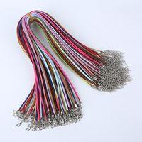 100 adet / grup süet kordon Mix renk Kore kadife kordon Kolye Halat: 45 cm + zincir: 5 cm ile ıstakoz kapat DIY Takı aksesuarları