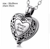 Venta al por mayor por encargo una variedad de nombres cajas de forma de corazón de la personalidad cenizas urna cremación funeral colgante collar joyería de moda