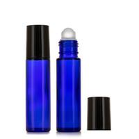 Botella 10ML Rollon cristal azul cobalto recargable perfume del aceite esencial de cristal bola de rodillo de botella Roll On botellas portátiles Negro Tapa de viajes