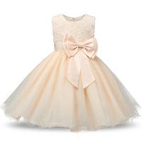 9 Farben Blumenmädchenkleider Bogen Knoten Prinzessin Hochzeit Kleider Online Einkaufen Ballkleid Mädchen Abendkleider 18062902