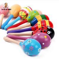 Colorido 11 cm Martelo de Areia Chocalho Infantil Mini Maracas De Madeira criança Festa de madera brinquedos Musicais Do Bebê Shaker brinquedos educativos iniciais