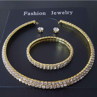 designer jewelry sets for women muiltlayer crystal necklace bracelets earrings wholesale hot fashion free of shipping