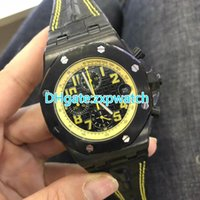 Black quartz men watch 42mm chronograph stopwatch full works...