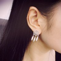 New Fashion Silver Bohemia Nationality  Feather Dream Catcher Dreamcatcher Drop Earrings For Women Jewelry High Quality