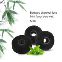 50 m di bambù carbone di legna filo interdentale filo interdentale incorporato stuzzicadenti filo interdentale filo interdentale di ricambio core menta sapore 5 pz / pacco