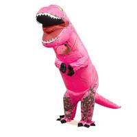 Çocuklar T-Rex Dinozor Şişme Kostüm Blow up Kıyafet Fantezi Elbise Dinozor Maskot Kostümleri Tulum Noel Kostüm