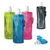 Yeni Gelmesi Katlanabilir Açık Spor Su Torbası 480 ML PVC Katlanabilir Su Şişesi Çevre Buz Çanta Su Isıtıcısı Geliyor Düz